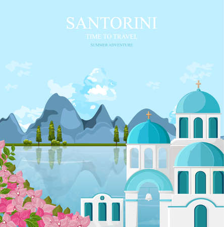 Santorini Greece architecture facades Vector. Travel banner with white and blue houses backgrounds