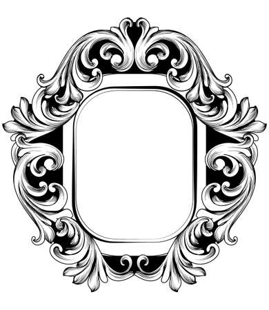 Baroque Mirror frame. Vector French Luxury rich intricate ornaments. Victorian Royal Style decor Banque d'images - 105065949