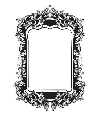 Baroque Mirror sophisticated frame. Vector French Luxury rich intricate ornaments. Victorian Royal Style decor