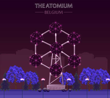 The atomium landmark building in Brussels at night Vector