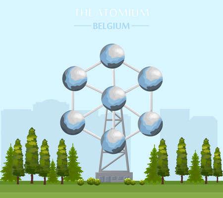 El edificio emblemático de Atomium en Bruselas Vector Ilustración de vector