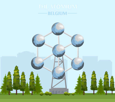 The Atomium landmark building in Brussels Vector