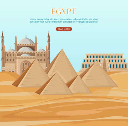Egypt pyramids card background Vector. Desert view and mosque architecture poster template  イラスト・ベクター素材