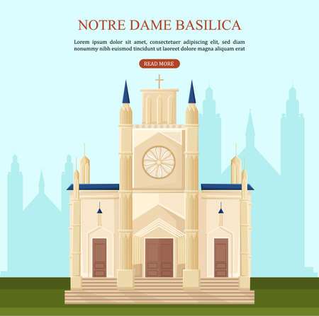 Notre Dame Basilica in Paris Vector. Architecture cartoon design