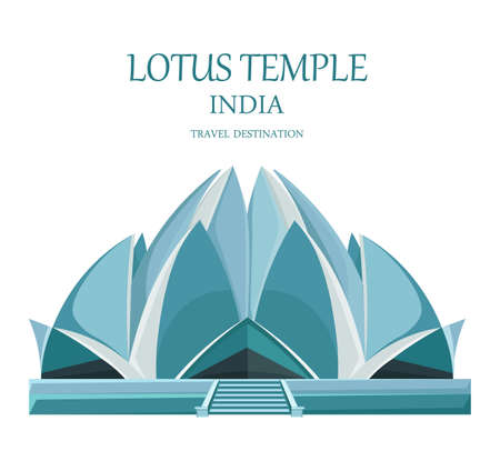 Lotus temple India Vector. Landmark attraction isolated. travel card illustration Illustration