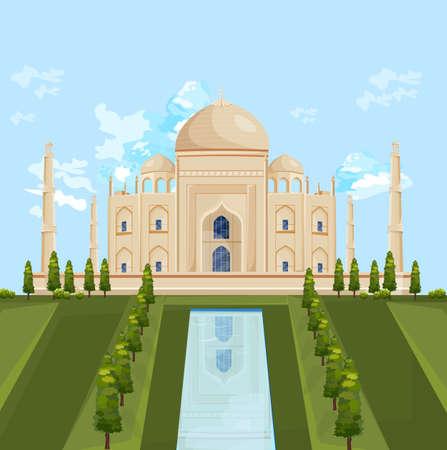 Taj Mahal India famous building attraction Vector summer illustrations