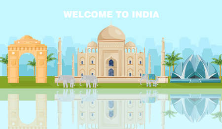 Welcome to India card with famous landmarks Vector