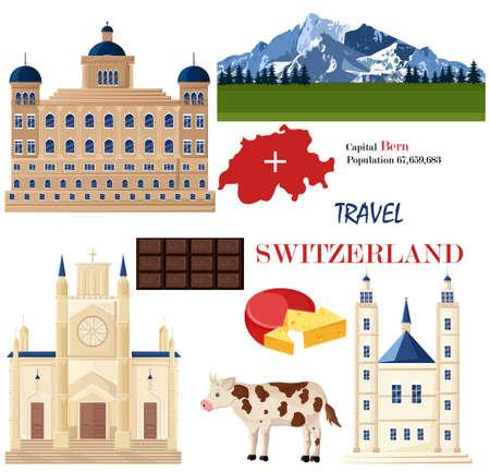 Schweiz Architektur und symbolische Elemente setzen Vektor. Berühmte Stadtarchitektur, Berge und Kühe. Rote Fahne des nationalen Symbols, Schokolade und Käse