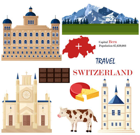 Zwitserland architectuur en symbolistische elementen instellen Vector. Beroemde stadsarchitectuur, bergen en koeien. Nationale symbool rode vlag, chocolade en kazen