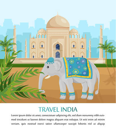 Cute Elephant symbol of India country Vector. Taj Mahal on backgrounds Illustration