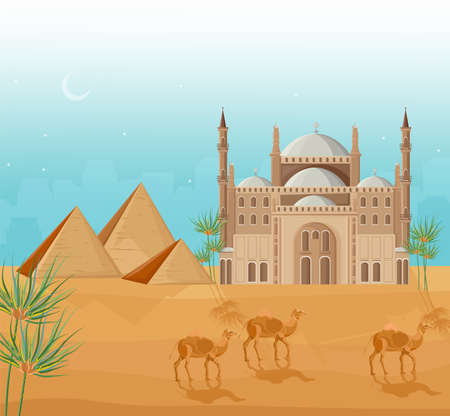 Egypt pyramids card background Vector. Desert view and mosque architecture poster template illustration Ilustrace