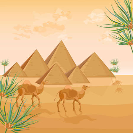 Egypt pyramids card background Vector. Desert view poster template  イラスト・ベクター素材