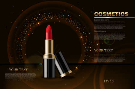 Red lipstick Vector realistic mock up. Cosmetics packaging mock up. Dark sparkling background 3d illustrations Illustration