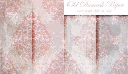 Vintage baroque pattern set Vector. Beautiful ornament decor. Royal luxury texture background beige colors