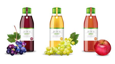 Zumos de manzana y uvas set Vector realista. Maqueta de embalaje del producto. Botellas de vidrio de diseño de etiquetas