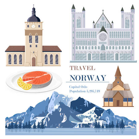 Norway set collection with salmon, architecture and landscape Vector Illustration