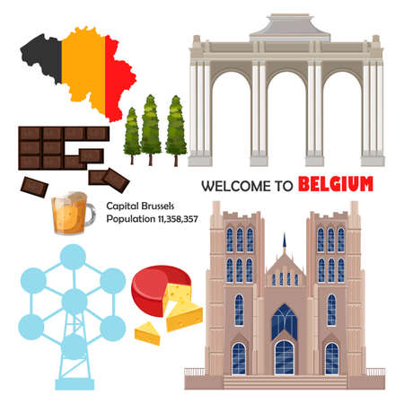 Belgium set collection architecture and symbols Vector
