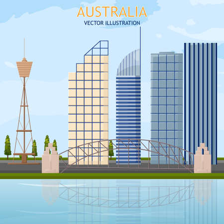 Australia architecture cityscape view Vector background  イラスト・ベクター素材
