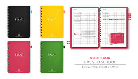 Colorful note books Vector realistic. 3d detailed illustration Illustration