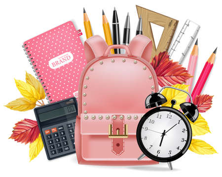 Back to School card Vector realistic. School supplies. Pink satchel, alarm clock, calculator, note book, rulers and pen tools. Detailed 3d illustration