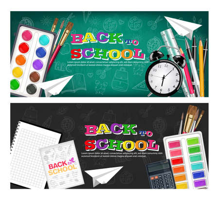 Back to school banners set Vector realistic. Alarm clock, brushes, pencil, watercolor palettes. 3d detailed illustration