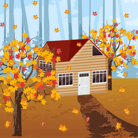 Wood house Vector autumn background illustration. Fall season