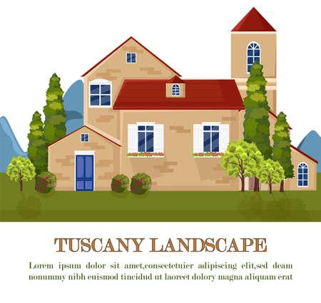 Vintage house Tuscany style Vector. Landscape card background Illusztráció