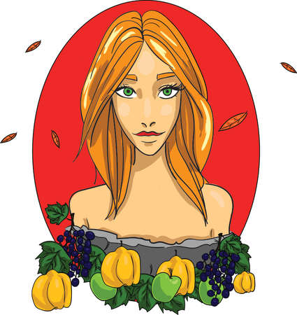 Girl autumn goddess Vector. Beauty woman with quince and grapes on red background