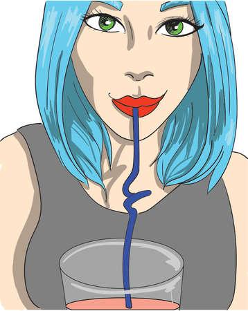 Girl drinking juice Vector. Cartoon character illustration