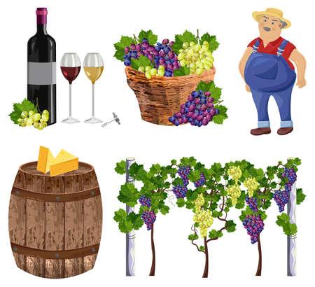 Granjero de colección set de viñedo, botella, vidrio, barril Vector Ilustración de vector