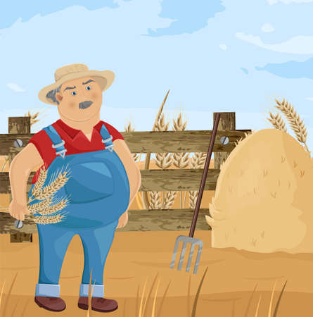 Farmer and hay cartoon character Vector. Funny man with a spud