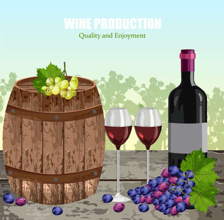 Wine history card with full glasses and bottle Vector. Vineyard backgrounds Vettoriali