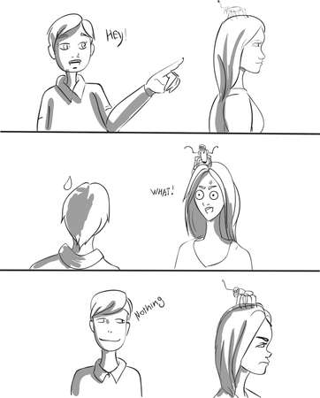 Boy trying to talk to a girl Vector. A spider on the girls head funny comics. Storyboard lineart digital graphic illustration