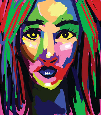 Beautiful woman colorful painting Vector. Abstract graphic style portrait Vector Illustratie