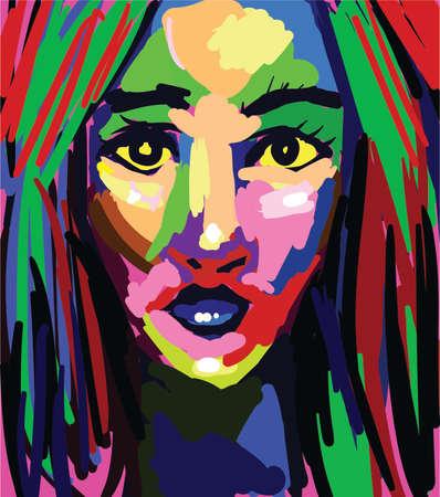 Vector de pintura colorida hermosa mujer. Retrato de estilo gráfico abstracto Ilustración de vector