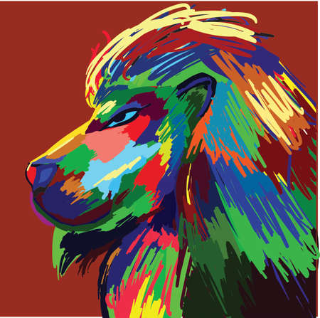 Lion portrait colorful painting Vector illustration. Abstract graphic style