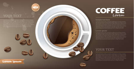 Coffee cup banner Vector realistic. Product placement mock up. Dark beans, coffee background. top view 3d illustration