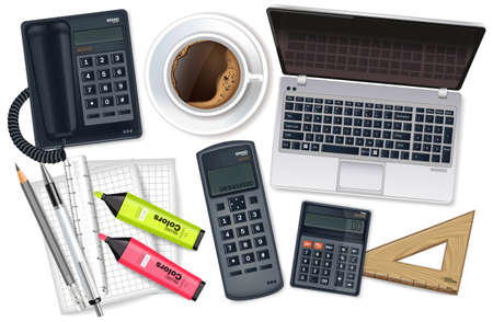 Business desk office set collection Vector realistic. Laptop, cofee, phone and office supplies 3d detailed illustration 矢量图像