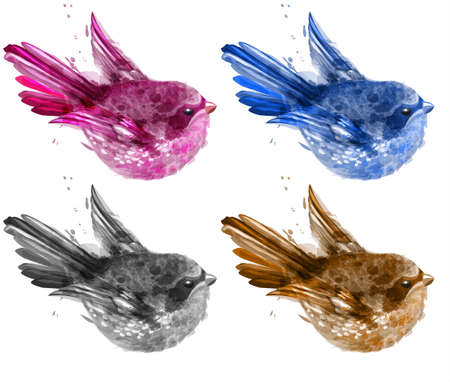 Colorful watercolor small birds set Vector. beautiful illustration collection painted style