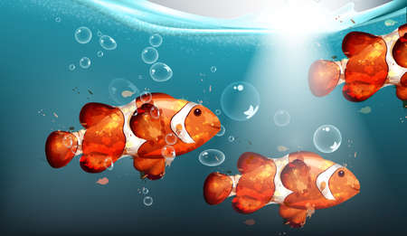 Golden fish watercolor Vector. Small fishes underwater backgrounds. Water bubbles and lights