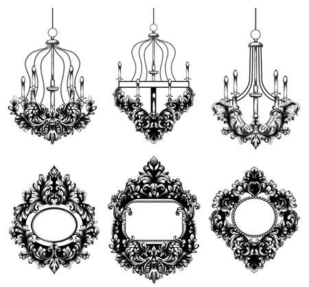 Baroque Mirror round frame. Vector French Luxury rich intricate ornaments. Victorian Royal Style decor