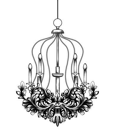 Classic Baroque Chandelier Vector. French Luxury rich intricate ornaments. Victorian Royal Style decor