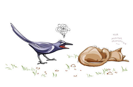 Crow screaming at a lazy cat Vector. cartoon style illustration
