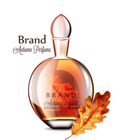 Parfum flacon Vector realistisch. Druiven smaak. Productplaatsing mock-up flessen. Originele stijlvolle 3D-illustraties