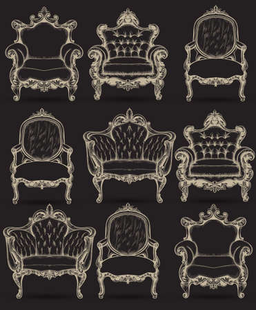 Baroque armchair set. Vector French Luxury rich intricate structure. Victorian Royal Style decor with luxurious ornaments dark backgrounds