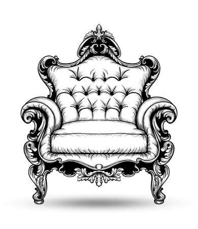 Baroque armchair Vector. French Luxury rich intricate structure. Victorian Royal Style decor with luxurious ornaments Illusztráció