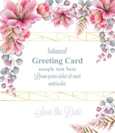 Lily belles fleurs aquarelle cadre de voeux décor illustrations vectorielles