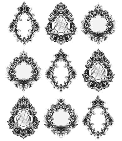 Baroque Mirror frames set Vector. French Imperial Luxury rich intricate ornamented details. Victorian Royal Style decor