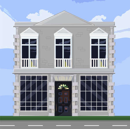 White house facade architecture Stock Illustratie