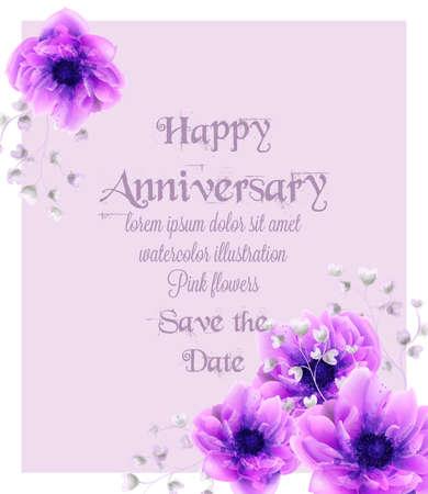 Szczęśliwa rocznica karty z różowe kwiaty akwarela wektor. Piękne vintage pastelowe kolory kwiatowy wystrój elementów Ilustracje wektorowe